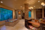 Master Bathroom with Air Jet Tub, steam shower, fireplace and Red Marble details